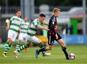 17 August 2018; JJ Lunney of Bohemians in action against Aaron Greene of Shamrock Rovers during the SSE Airtricity League Premier Division match between Shamrock Rovers and Bohemians at Tallaght Stadium in Dublin. Photo by Seb Daly/Sportsfile