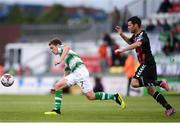 17 August 2018; Dylan Watts of Shamrock Rovers in action against Dinny Corcoran of Bohemians during the SSE Airtricity League Premier Division match between Shamrock Rovers and Bohemians at Tallaght Stadium in Dublin. Photo by Eóin Noonan/Sportsfile