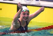 17 August 2018; Ellen Keane of Ireland after winning bronze in the final of the Women's 200m Individual Medley SM9 event during day five of the World Para Swimming Allianz European Championships at the Sport Ireland National Aquatic Centre in Blanchardstown, Dublin. Photo by David Fitzgerald/Sportsfile