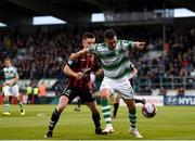 17 August 2018; Aaron Greene of Shamrock Rovers in action against Daragh Leahy of Bohemians during the SSE Airtricity League Premier Division match between Shamrock Rovers and Bohemians at Tallaght Stadium in Dublin. Photo by Eóin Noonan/Sportsfile