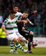 17 August 2018; Keith Ward of Bohemians has a shot on goal despite the attention of Aaron Greene of Shamrock Rovers during the SSE Airtricity League Premier Division match between Shamrock Rovers and Bohemians at Tallaght Stadium in Dublin. Photo by Eóin Noonan/Sportsfile