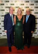 17 August 2018; John Delaney, CEO, Football Association of Ireland, and partner Emma English with Businessman Denis O'Brien on their arrival at the FAI Delegates Dinner & FAI Communications Awards at the Rochestown Park Hotel in Cork. Photo by Stephen McCarthy/Sportsfile