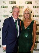17 August 2018; John Delaney, CEO, Football Association of Ireland, and partner Emma English on their arrival at the FAI Delegates Dinner & FAI Communications Awards at the Rochestown Park Hotel in Cork. Photo by Stephen McCarthy/Sportsfile