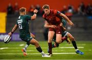 17 August 2018; Liam Coombes of Munster is tackled by Brendan McKibbin and Fergus Mulchrone of London Irish during the Keary's Renault pre-season friendly match between Munster and London Irish at Irish Independent Park in Cork. Photo by Diarmuid Greene/Sportsfile
