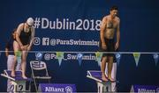 17 August 2018; Former Republic of Ireland international Niall Quinn and Republic of Ireland international Amber Barrett during a Charity race at day five of the World Para Swimming Allianz European Championships at the Sport Ireland National Aquatic Centre in Blanchardstown, Dublin. Photo by David Fitzgerald/Sportsfile