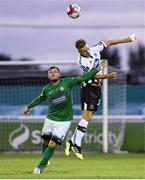 17 August 2018; Daniel Cleary of Dundalk in action against Ger Pender of Bray Wanderers during the SSE Airtricity League Premier Division match between Bray Wanderers and Dundalk at the Carlisle Grounds in Bray, Wicklow. Photo by Matt Browne/Sportsfile