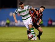 17 August 2018; Aaron Greene of Shamrock Rovers in action against Kevin Devaney of Bohemians during the SSE Airtricity League Premier Division match between Shamrock Rovers and Bohemians at Tallaght Stadium in Dublin. Photo by Seb Daly/Sportsfile