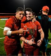 17 August 2018; Dan Goggin and Calvin Nash of Munster with the Jack Wakefield Memorial Trophy after the Keary's Renault pre-season friendly match between Munster and London Irish at Irish Independent Park in Cork. Photo by Diarmuid Greene/Sportsfile