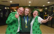 17 August 2018; Ellen Keane of Ireland with her parents Eddie and Laura after winning bronze in the final of the Women's 200m Individual Medley SM9 event during day five of the World Para Swimming Allianz European Championships at the Sport Ireland National Aquatic Centre in Blanchardstown, Dublin. Photo by David Fitzgerald/Sportsfile