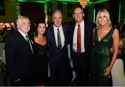17 August 2018; Attendees, from left, FAI President Tony Fitzgerald, Clare Miller, wife of the late Liam Miller, John Delaney, CEO, Football Association of Ireland, and his partner Emma English and An Tánaiste Simon Coveney TD at the FAI Delegates Dinner & FAI Communications Awards at the Rochestown Park Hotel in Cork. Photo by Stephen McCarthy/Sportsfile