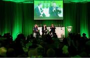 17 August 2018; Republic of Ireland Women's National Team manager Colin Bell, right, and Republic of Ireland manager Martin O'Neill are interviewed by Trevor Welch at the FAI Delegates Dinner & FAI Communications Awards at the Rochestown Park Hotel in Cork. Photo by Stephen McCarthy/Sportsfile