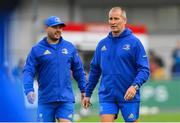 17 August 2018; Leinster senior coach Stuart Lancaster, right, and kicking coach and head analyst Emmet Farrell ahead of the Bank of Ireland Pre-season Friendly match between Leinster and Newcastle Falcons at Energia Park in Dublin. Photo by Ramsey Cardy/Sportsfile