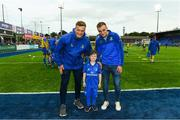 17 August 2018; Leinster mascot 6 year old Stephen Doran with Leinster players Josh van der Flier and Nick McCarthy prior to the Bank of Ireland Pre-season Friendly match between Leinster and Newcastle Falcons at Energia Park in Dublin. Photo by Ramsey Cardy/Sportsfile