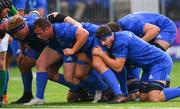 17 August 2018; Bryan Byrne, James Tracy and Josh Murphy of Leinster during the Bank of Ireland Pre-season Friendly match between Leinster and Newcastle Falcons at Energia Park in Dublin. Photo by Ramsey Cardy/Sportsfile