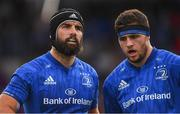 17 August 2018; Scott Fardy, left, and Josh Murphy of Leinster during the Bank of Ireland Pre-season Friendly match between Leinster and Newcastle Falcons at Energia Park in Dublin. Photo by Ramsey Cardy/Sportsfile