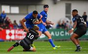 17 August 2018; Adam Byrne of Leinster is tackled by Joel Hodgson of Newcastle Falcons during the Bank of Ireland Pre-season Friendly match between Leinster and Newcastle Falcons at Energia Park in Dublin. Photo by Ramsey Cardy/Sportsfile