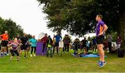 18 August 2018; Vhi ambassador and Olympian David Gillick pictured at the Longford parkrun where Vhi hosted a special event to celebrate their partnership with parkrun Ireland. David was on hand to lead the warm up for parkrun participants before completing the 5km free event. Parkrunners enjoyed refreshments post event at the Vhi Relaxation Area where a physiotherapist took participants through a post event stretching routine.   parkrun in partnership with Vhi support local communities in organising free, weekly, timed 5k runs every Saturday at 9.30am.To register for a parkrun near you visit www.parkrun.ie. Photo by Seb Daly/Sportsfile