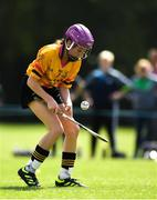 18 August 2018; Chloe Costello of Enfield-Rathmoylon, Co. Meath, competing in the Camogie U14 event during day one of the Aldi Community Games August Festival at the University of Limerick in Limerick. Photo by Harry Murphy/Sportsfile