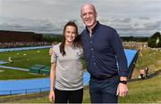 18 August 2018; Aldi ambassador Paul O'Connell, right, and World U20 4x100m Silver Medallist Ciara Neville in attendance during day one of the Aldi Community Games August Festival at the University of Limerick in Limerick. Photo by Sam Barnes/Sportsfile