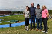 18 August 2018;  In attendance during day one of the Aldi Community Games August Festival are, from left, World U20 4x100m Silver Medallist, Ciara Neville, Aldi Ambassador Paul O'Connell, Galway hurling manager Micheál Donoghue and World U20 4x100m Silver Medallist Molly Scott at the University of Limerick in Limerick. Photo by Sam Barnes/Sportsfile