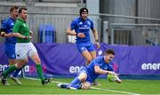 18 August 2018; Hugh O'Sullivan of Leinster scores his side's first try during the Pre-season Friendly match between Leinster Development and Coventry at Energia Park in Dublin. Photo by Brendan Moran/Sportsfile