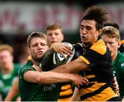 18 August 2018; Ambrose Curtis of Wasps is tackled by Kyle Godwin of Connacht during the Pre-season Friendly match between Connacht and Wasps at Dubarry Park in Westmeath. Photo by Seb Daly/Sportsfile