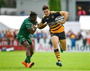 18 August 2018; Ross Neal of Wasps is tackled by Niyi Adeolokun of Connacht during the Pre-season Friendly match between Connacht and Wasps at Dubarry Park in Westmeath. Photo by Seb Daly/Sportsfile