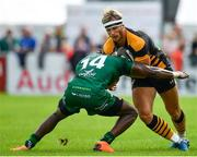 18 August 2018; Joe Atkinson of Wasps is tackled by Niyi Adeolokun of Connacht during the Pre-season Friendly match between Connacht and Wasps at Dubarry Park in Westmeath. Photo by Seb Daly/Sportsfile