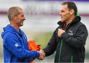 17 August 2018; Leinster senior coach Stuart Lancaster, left, with Newcastle Falcons defence coach John Wells prior to the Bank of Ireland Pre-season Friendly match between Leinster and Newcastle Falcons at Energia Park in Dublin. Photo by Brendan Moran/Sportsfile