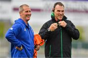 17 August 2018; Newcastle Falcons defence coach John Wells, right, with Leinster senior coach Stuart Lancaster prior to the Bank of Ireland Pre-season Friendly match between Leinster and Newcastle Falcons at Energia Park in Dublin. Photo by Brendan Moran/Sportsfile