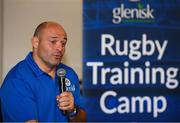 18 August 2018; Irish Rugby Captain and Glenisk ambassador Rory Best is pictured at an exclusive Glenisk Rugby Training Camp in De La Salle RFC with 100 lucky competition winners aged between 7 and 12 years. The camp, hosted by Glenisk, Official Yoghurt of Irish Rugby, was designed to encourage children to make new friends, develop their rugby skills and learn about the best foods for their growing bodies with advice from IRFU Performance Nutritionist Marcus Shortall. Pictured at the event is Rory Best during a Q&A session with young players during the camp at De La Salle Palmerstown RFC, Dublin. Photo by Eóin Noonan/Sportsfile