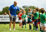 18 August 2018; Irish Rugby Captain and Glenisk ambassador Rory Best is pictured at an exclusive Glenisk Rugby Training Camp in De La Salle RFC with 100 lucky competition winners aged between 7 and 12 years. The camp, hosted by Glenisk, Official Yoghurt of Irish Rugby, was designed to encourage children to make new friends, develop their rugby skills and learn about the best foods for their growing bodies with advice from IRFU Performance Nutritionist Marcus Shortall. Pictured at the event is Rory Best interacting with young players during the camp at De La Salle Palmerstown RFC, Dublin. Photo by Eóin Noonan/Sportsfile