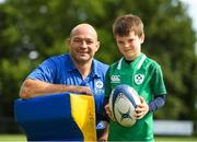 18 August 2018; Irish Rugby Captain and Glenisk ambassador Rory Best is pictured at an exclusive Glenisk Rugby Training Camp in De La Salle RFC with 100 lucky competition winners aged between 7 and 12 years. The camp, hosted by Glenisk, Official Yoghurt of Irish Rugby, was designed to encourage children to make new friends, develop their rugby skills and learn about the best foods for their growing bodies with advice from IRFU Performance Nutritionist Marcus Shortall. Pictured at the event is Rory Best with Luca Barrett, age 6, from Blackrock, Dublin during the camp at De La Salle Palmerstown RFC, Dublin. Photo by Eóin Noonan/Sportsfile
