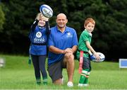 18 August 2018; Irish Rugby Captain and Glenisk ambassador Rory Best is pictured at an exclusive Glenisk Rugby Training Camp in De La Salle RFC with 100 lucky competition winners aged between 7 and 12 years. The camp, hosted by Glenisk, Official Yoghurt of Irish Rugby, was designed to encourage children to make new friends, develop their rugby skills and learn about the best foods for their growing bodies with advice from IRFU Performance Nutritionist Marcus Shortall. Pictured at the event is Rory Best Shauna Williams, age 8 from Delvin, Westmeath and Aaron McDermott, age 7, from Blanchardstown, Dublin during the camp at De La Salle Palmerstown RFC, Dublin. Photo by Eóin Noonan/Sportsfile