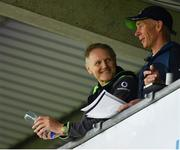 18 August 2018; Connacht head coach Andy Friend, right, and Ireland head coach Joe Schmidt, left, during the Pre-season Friendly match between Connacht and Wasps at Dubarry Park in Westmeath. Photo by Seb Daly/Sportsfile