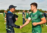 18 August 2018; Connacht head coach Andy Friend, left, and Tom Farrell following the Pre-season Friendly match between Connacht and Wasps at Dubarry Park in Westmeath. Photo by Seb Daly/Sportsfile