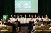 18 August 2018; FAI Board members, from left, Eddie Murray, Honorary Treasurer, Paraic Treanor, Chairman of Legal & Corporate Affairs Committee, Mick Hanley, Chairman of the International Committee, Newly Elected FAI President Donal Conway, John Delaney, CEO, Football Association of Ireland, Outgoing FAI President Tony Fitzgerald, Michael Cody, Honorary Secretary, Jim McConnell, Chairman of the Domestic Committee, John Earley, Chairman of the Underage Committee, Niamh O'Donoghue, Chairperson of the Women's Football Committee, and Eamon Naughton, Chairman of the National Leagues Executive Committee, during the Football Association of Ireland Annual General Meeting at the Rochestown Park Hotel in Cork. Photo by Stephen McCarthy/Sportsfile