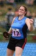 18 August 2018; Siobhan O'Hanlon of Limekiln Templemanor, Co. Dublin, competing in the Discus U16 & O14 Girls event during day one of the Aldi Community Games August Festival at the University of Limerick in Limerick. Photo by Sam Barnes/Sportsfile