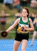 18 August 2018; Emma Bergin of Shinrone - Coolderry, Co. Offaly, competing in the Discus U16 & O14 Girls  event during day one of the Aldi Community Games August Festival at the University of Limerick in Limerick. Photo by Sam Barnes/Sportsfile