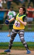 18 August 2018; Lara Faul of Glenswilly - Churchill, Co. Donegal, competing in the Discus U16 & O14 Girls  event during day one of the Aldi Community Games August Festival at the University of Limerick in Limerick. Photo by Sam Barnes/Sportsfile