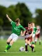 18 August 2018; Mark Cooney of Clonguish, Co Longford in action against Simon Lynskey of Clarinbridge, Co Galway, competing in the Soccer Outdoor U12 Final event during day one of the Aldi Community Games August Festival at the University of Limerick in Limerick. Photo by Harry Murphy/Sportsfile