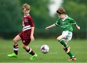 18 August 2018; James Hagan of Clonguish, Co. Longford   in action against Trent Slattery of Clarinbridge, Co. Galway competing in the Soccer Outdoor U12 Final event during day one of the Aldi Community Games August Festival at the University of Limerick in Limerick. Photo by Harry Murphy/Sportsfile
