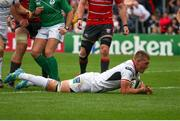 18 August 2018; Marcus Rea of Ulster dives over to score Ulster's opening try during the Pre-Season Friendly match between Ulster and Gloucester at the Kingspan Stadium in Antrim. Photo by John Dickson/Sportsfile