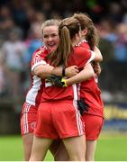 18 August 2018; Siobhan Sheerin, Emma Hegarty and Chloe McCaffrey of Tyrone celebrate after the 2018 TG4 All-Ireland Ladies Intermediate Football Championship semi-final match between Sligo and Tyrone at Fr. Tierney Park in Donegal. Photo by Oliver McVeigh/Sportsfile