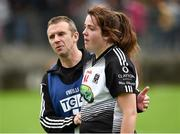 18 August 2018; Katie Walsh of Sligo dejected, is consoled by team offical Michael Duffy after the 2018 TG4 All-Ireland Ladies Intermediate Football Championship semi-final match between Sligo and Tyrone at Fr. Tierney Park in Donegal. Photo by Oliver McVeigh/Sportsfile