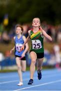 18 August 2018; Leila Colfer of Rathvilly, Co. Carlow, competing in the Relay 4x100m U12 & O10 Girls event during day one of the Aldi Community Games August Festival at the University of Limerick in Limerick. Photo by Sam Barnes/Sportsfile