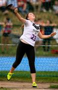 18 August 2018; Hannah Wilson of Kildare Town, Co. Kildare, competing in the Discus U16 & O14 Girls event during day one of the Aldi Community Games August Festival at the University of Limerick in Limerick. Photo by Sam Barnes/Sportsfile