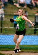 18 August 2018; Abigail Littlejohn of Kenmare, Co. Kerry, competing in the Discus U16 & O14 Girls  event during day one of the Aldi Community Games August Festival at the University of Limerick in Limerick. Photo by Sam Barnes/Sportsfile