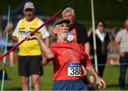 18 August 2018; Jerry O'Connell of Limerick Country Club A.C, M70, competing in the Javelin event during the Irish Life Health National Track & Field Masters Championships at Tullamore Harriers Stadium in Offaly. Photo by Piaras Ó Mídheach/Sportsfile