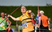18 August 2018; Pat Moore of Leevale A.C., Co Cork, M70, competing in the Javelin event during the Irish Life Health National Track & Field Masters Championships at Tullamore Harriers Stadium in Offaly. Photo by Piaras Ó Mídheach/Sportsfile